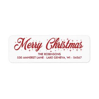 Etiqueta do roteiro Cursive do Feliz Natal