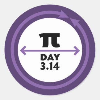 Etiqueta do roxo do dia do Pi