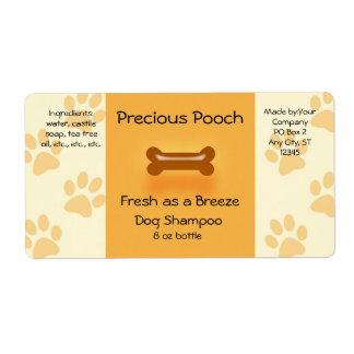 Etiqueta do sabão do champô do cão (alaranjada)