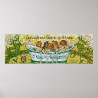 Etiqueta do sabão do DES Gentils Bebes de Savon Pôster