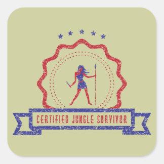 Etiqueta do selo da mulher da selva adesivo quadrado