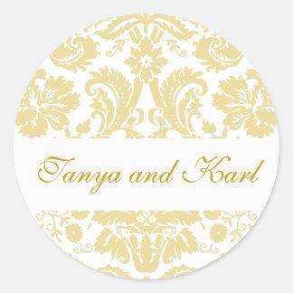 Etiqueta do selo do casamento tema damasco do noiv adesivos redondos