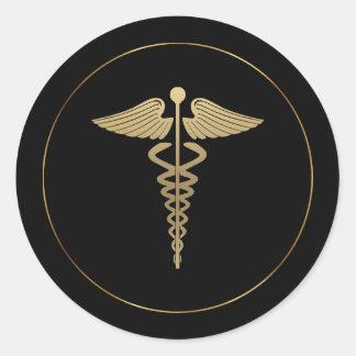 Etiqueta do símbolo do Caduceus do ouro