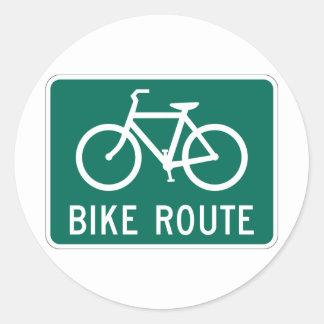 Etiqueta do sinal da rota da bicicleta adesivos em formato redondos