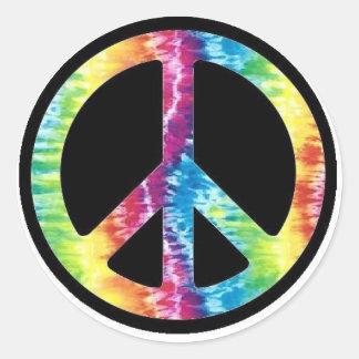 Etiqueta do sinal de paz da tintura do laço adesivo redondo