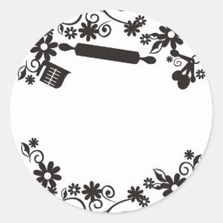 etiqueta do Tag do presente das flores dos utensíl Adesivos Em Formato Redondos