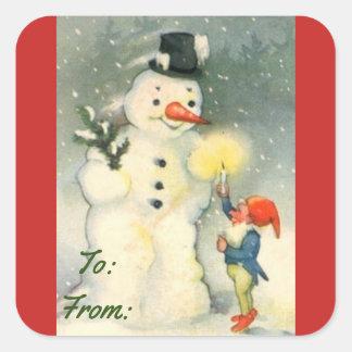 Etiqueta do Tag do presente do boneco de neve do