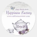 etiqueta do Tag do presente do bule do copo de chá Adesivos Redondos