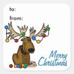 Etiqueta do Tag do presente dos alces do Natal Adesivo Quadrado