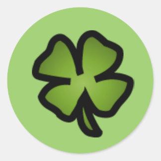Etiqueta do trevo de quatro folhas adesivos redondos