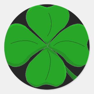 Etiqueta do trevo de quatro folhas adesivo em formato redondo