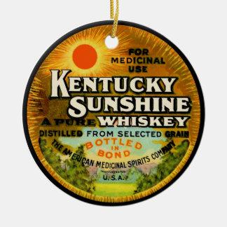 Etiqueta do uísque de Kentucky do vintage Ornamento De Cerâmica Redondo