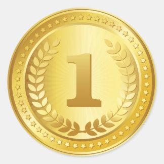 Etiqueta do vencedor do lugar da medalha de ouro