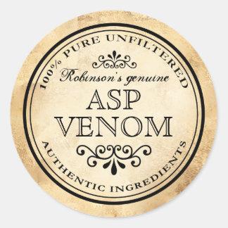 Adesivo Redondo Etiqueta do veneno do asp do apothecary do vintage