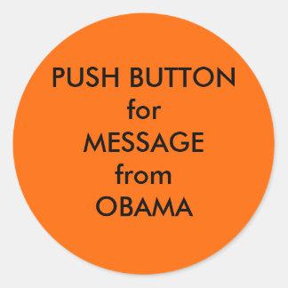 Etiqueta do ventilador de ar quente de Obama Adesivos Em Formato Redondos