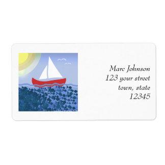 Etiqueta Do verão azul do mar do barco de navigação