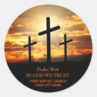 Etiqueta do verso da bíblia de três cruzes