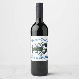 etiqueta do vinho de Nova Escócia do país de