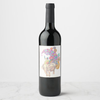 etiqueta do vinho do elefante e do pássaro