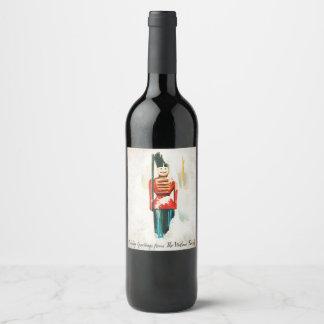 Etiqueta do vinho do Natal do soldado de brinquedo