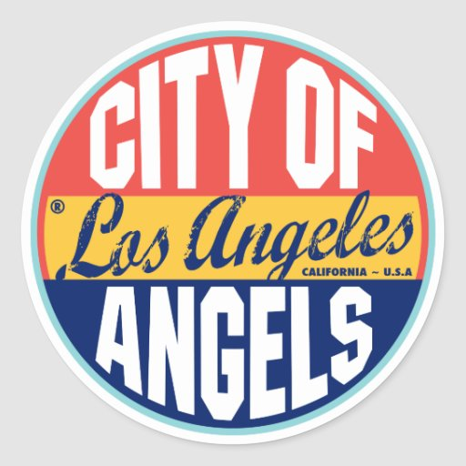 Etiqueta do vintage de Los Angeles Adesivo Em Formato Redondo