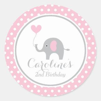 Etiqueta doce do aniversário do elefante adesivo