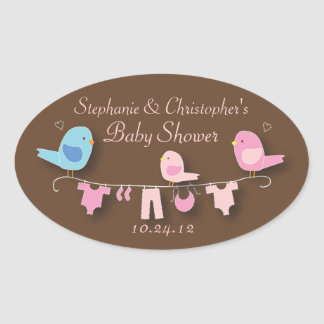 Etiqueta doce do chá do bebé do rosa da família de adesivo oval