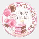 Etiqueta doce do feliz aniversario dos doces adesivos