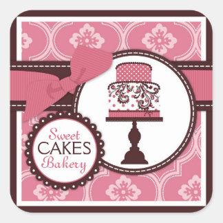 Etiqueta doce do negócio da etiqueta do bolo adesivo quadrado