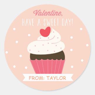 Etiqueta doce dos namorados do cupcake adesivo