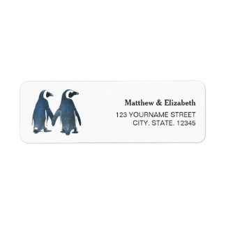 Etiqueta Dois casamento romântico bonito dos pinguins |