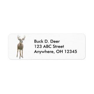 Etiqueta dos cervos do fanfarrão do Whitetail Etiqueta Endereço De Retorno