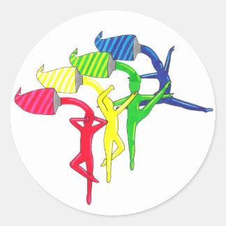 Etiqueta dos dançarinos do arco-íris
