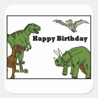 Etiqueta dos dinossauros do feliz aniversario adesivo quadrado