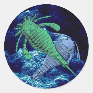 Etiqueta dos escorpião de mar adesivo em formato redondo