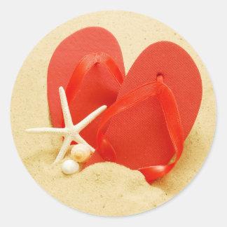 Etiqueta dos flip-flops adesivos em formato redondos