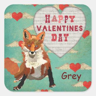 Etiqueta dos namorados do Fox vermelho Adesivo Quadrado