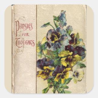 Etiqueta dos Pansies da capa do livro do Victorian