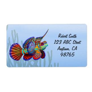 Etiqueta dos peixes de Dragonet do mandarino Etiqueta De Frete