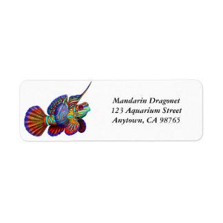 Etiqueta dos peixes do góbio de Dragonet do Etiqueta Endereço De Retorno