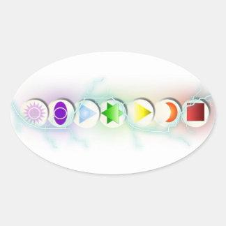 Etiqueta dos símbolos de Chakra Adesivo Oval