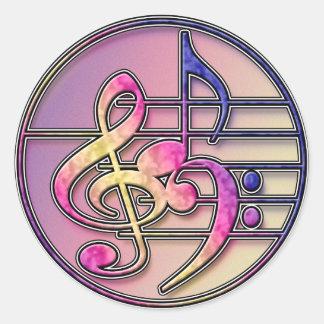Etiqueta dos símbolos de música adesivo redondo