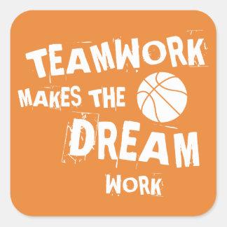 Etiqueta dos trabalhos em equipe do basquetebol