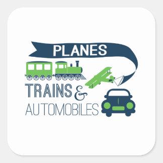Etiqueta dos trens e dos automóveis dos planos