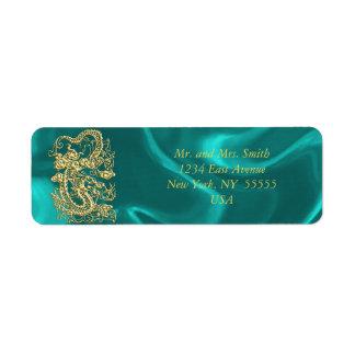 Etiqueta Dragão gravado do ouro no impressão do cetim de