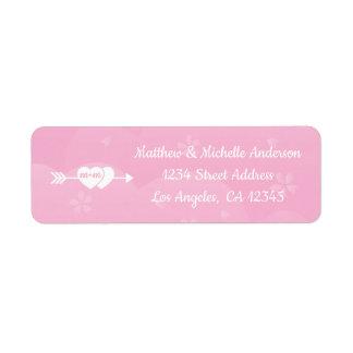 Etiqueta Duas flores de cerejeira cor-de-rosa do amor dos