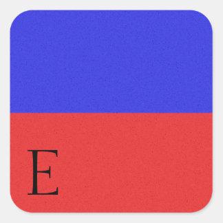 Etiqueta E do alfabeto da bandeira de sinal Adesivo Quadrado