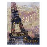 Etiqueta e torre Eiffel do francês do vintage