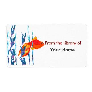 Etiqueta Edredão vermelha bonito de Digitas dos peixes de