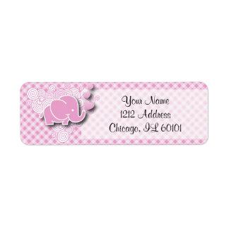 Etiqueta Elefante cor-de-rosa & branco do bebê da xadrez
